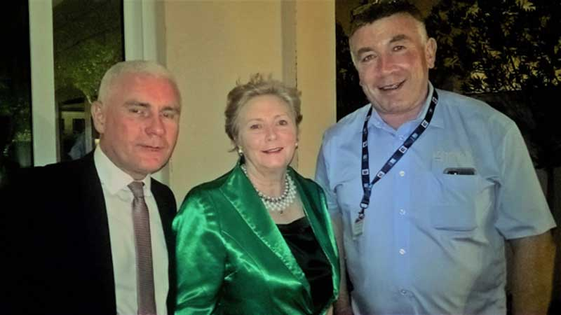 Sean Phelan EAG - Director of Aerospace and Gerry Reynolds - Chairman of EAG pictured with An Tánaiste Frances Fitzgerald TD at the Ambassadors Reception in Abu Dhabi.